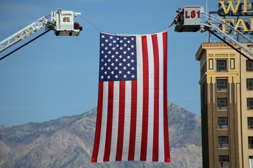 american flag firefighter